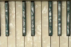 reflective piano keyboard